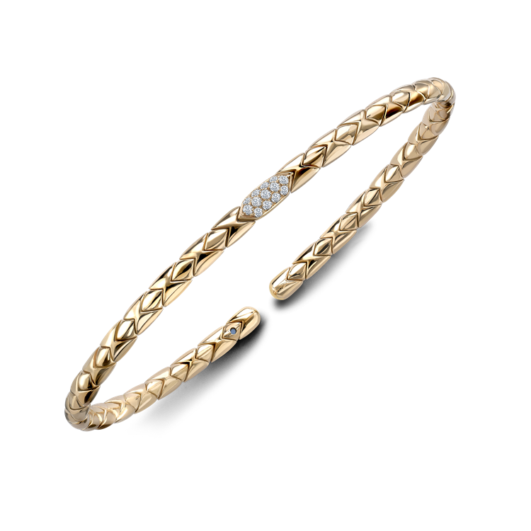 Groove Diamond Textured Bangle 0.10CT in Yellow Gold Brilliant Cut, Pavé Set_2