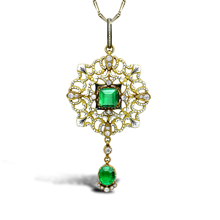 Carlo & Arthur Giuliano Yellow Gold, Emerald and Diamond Enamel Pendant Square, Oval & Brilliant Cut, Claw Set_1