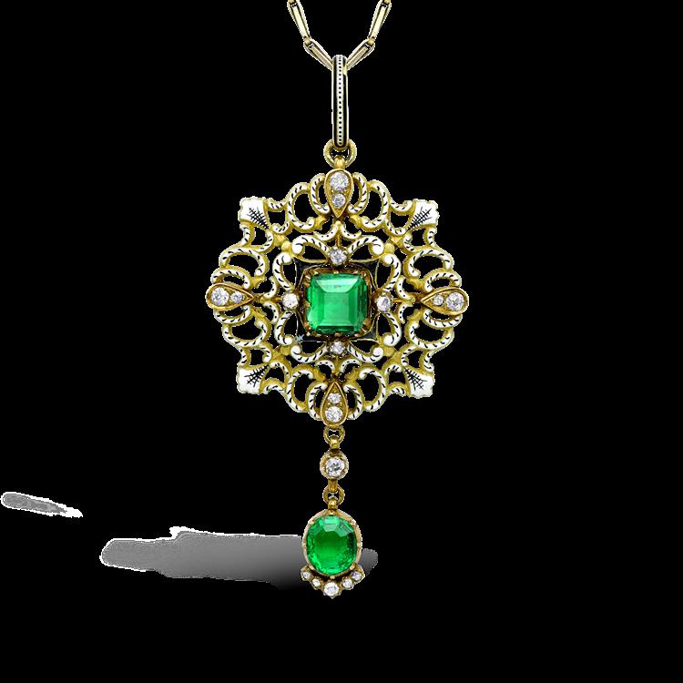 Carlo & Arthur Giuliano Yellow Gold, Emerald and Diamond Enamel Pendant