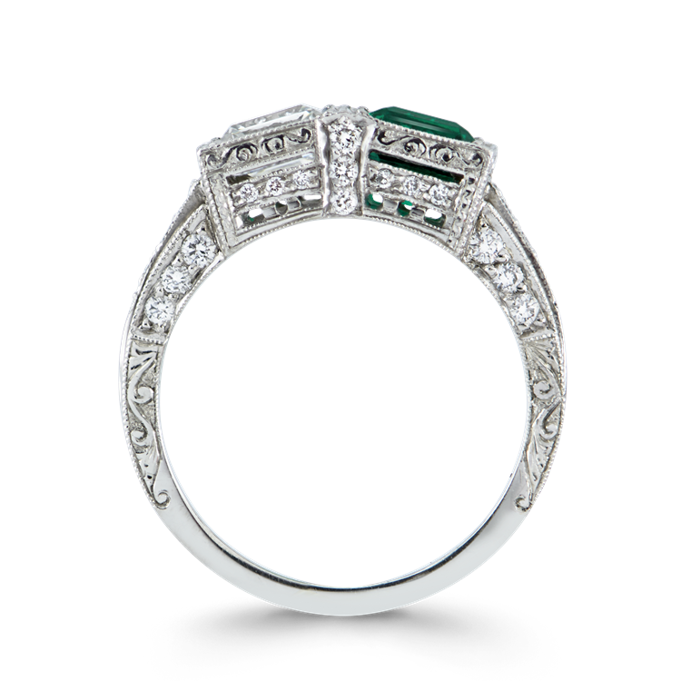 Art Deco Diamond & Emerald Ring<br /> 1.01CT in Platinum