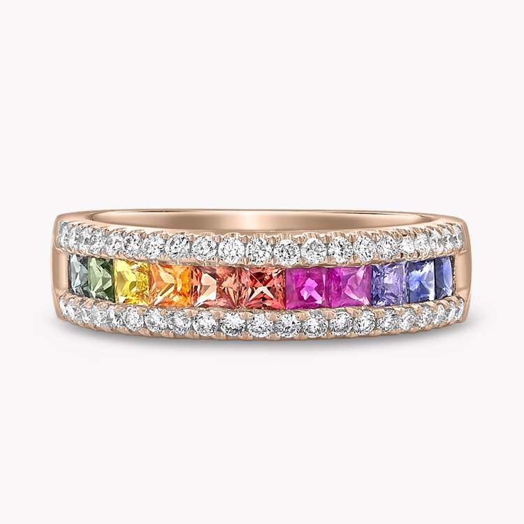 Rainbow Sapphire and Diamond Ring 1.31CT in 18CT Rose Gold Princess Cut, Three Row, Channel Set_1
