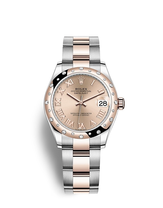 Datejust 31 Oyster, 31 mm, Oystersteel, Everose gold and diamonds