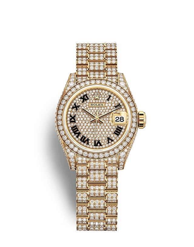 Lady-Datejust Oyster, 28 mm, yellow gold and diamonds