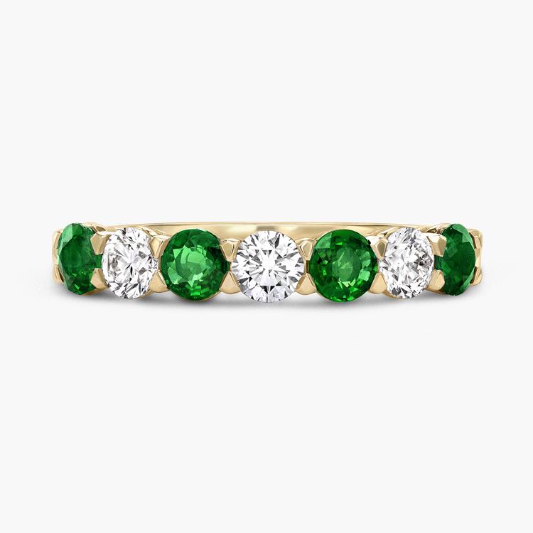 Emerald and Diamond Seven-Stone Ring 1.03CT in 18CT Yellow Gold Brilliant Cut, Seven-Stone, Claw Set_2