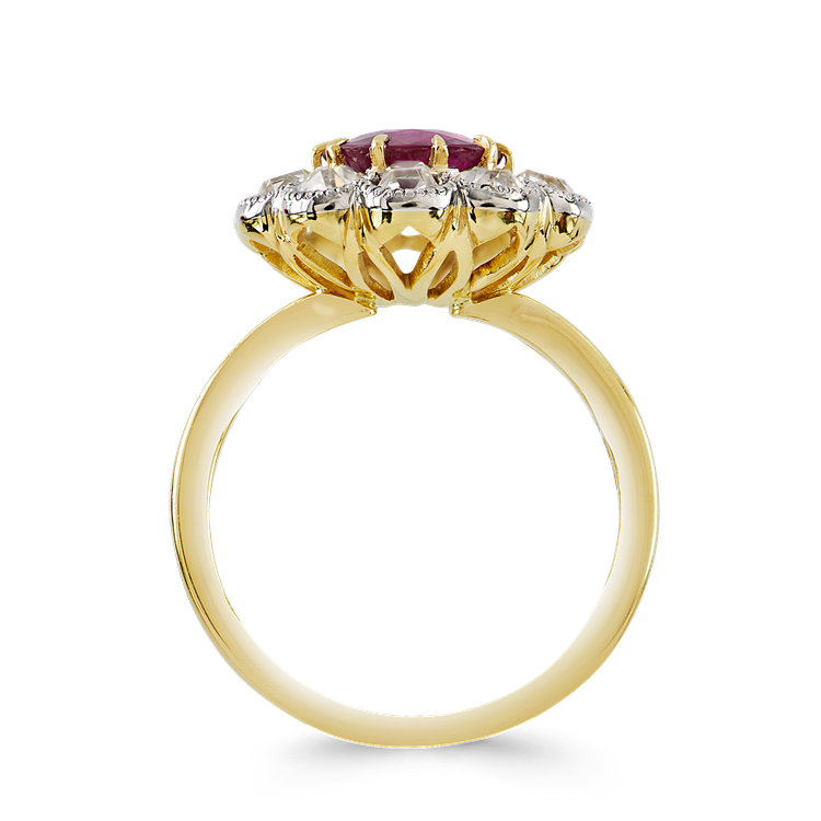 Brilliant Cut Ruby Ring 1.68CT in Yellow Gold Cluster Ring with Old Cut Shoulders_3