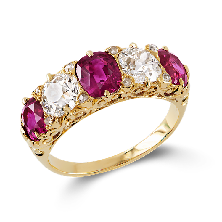 Victorian Burmese Ruby and Diamond Ring  3.70CT in Yellow Gold