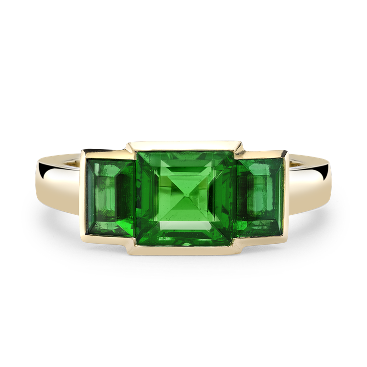 Square Cut Emerald Ring 2.55CT in Yellow Gold Square Cut, Three Stone_2