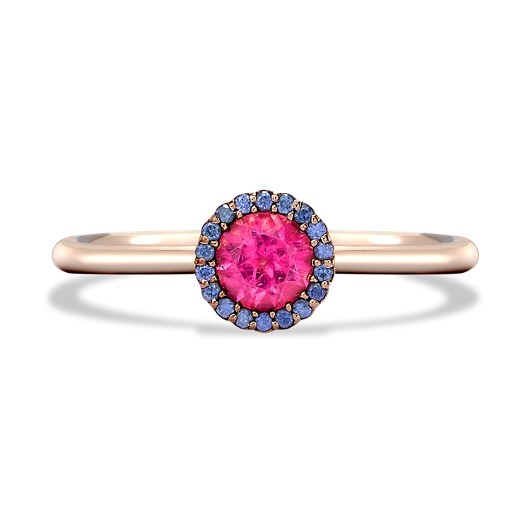 Solstice Pink Tourmaline and Sapphire Ring in Rose Gold