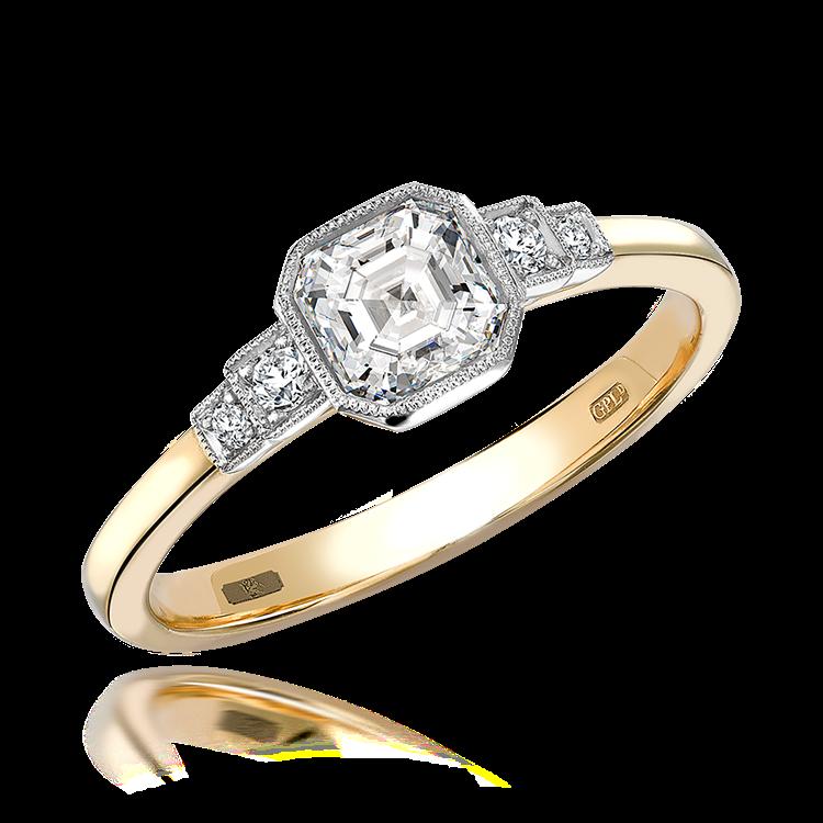 0.61CT Diamond Solitaire Ring Yellow Gold and Platinum Celia Setting Asscher Cut, Solitaire, Brilliant Shoulders_1