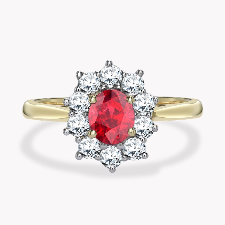 Oval Cut Ruby and Diamond Ring 0.78CT in 18CT Yellow and White Gold Oval Cut, Claw Set_1