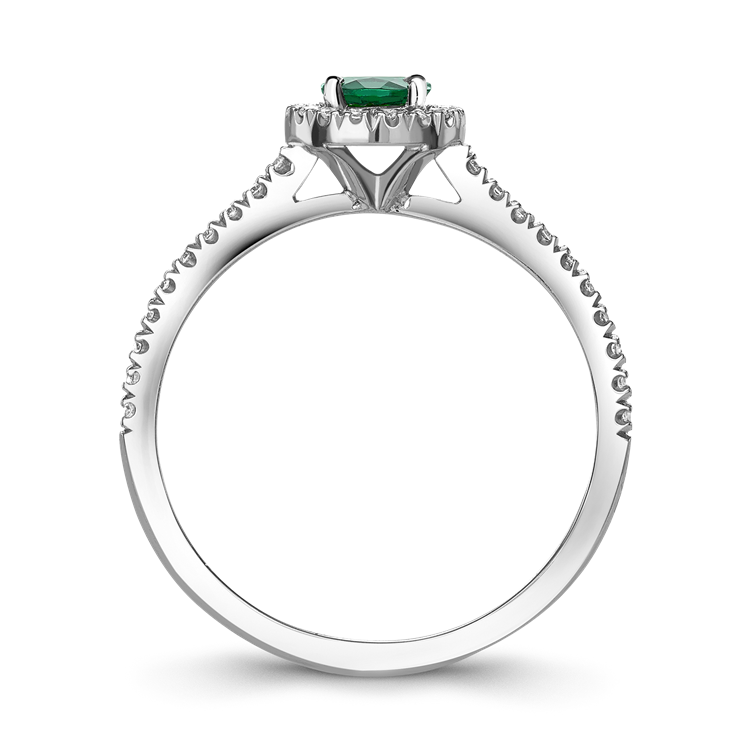 Round Brilliant Cut Emerald Ring<br /> 0.30CT in 18CT White Gold
