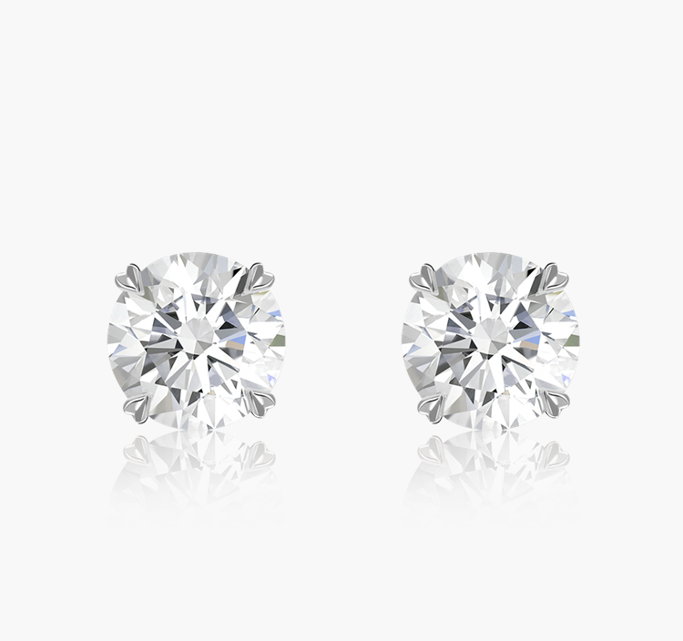 Windsor Diamond Stud Earrings 1.80CT in 18CT White Gold Brilliant cut, Claw set_1