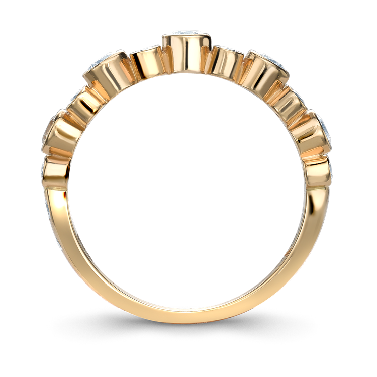 Bubbles Half-Eternity Diamond Ring 0.77CT in Rose Gold Brilliant Cut, Rubover Set_2