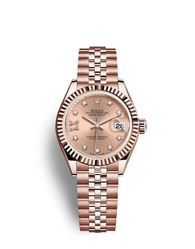 Lady-Datejust Oyster, 28 mm, Everose gold