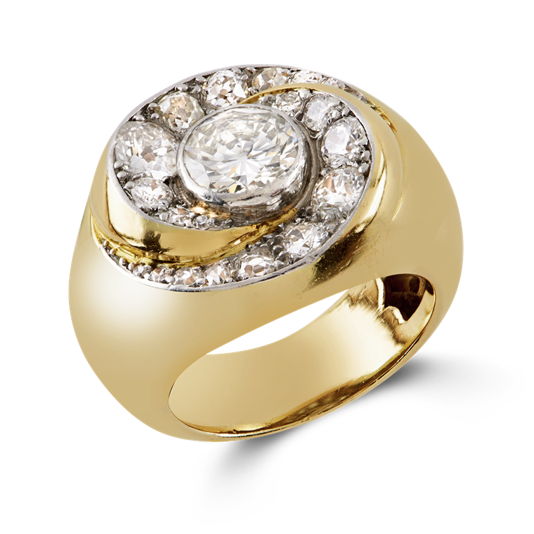 Retro Diamond Cocktail Ring 2.16CT in Yellow Gold