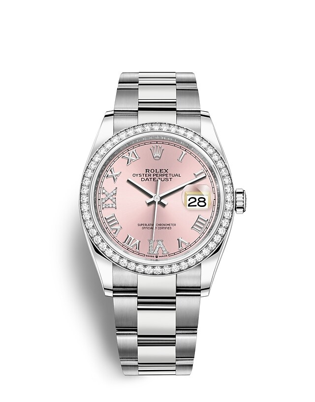 Datejust 36 Oyster, 36 mm, Oystersteel, white gold and diamonds