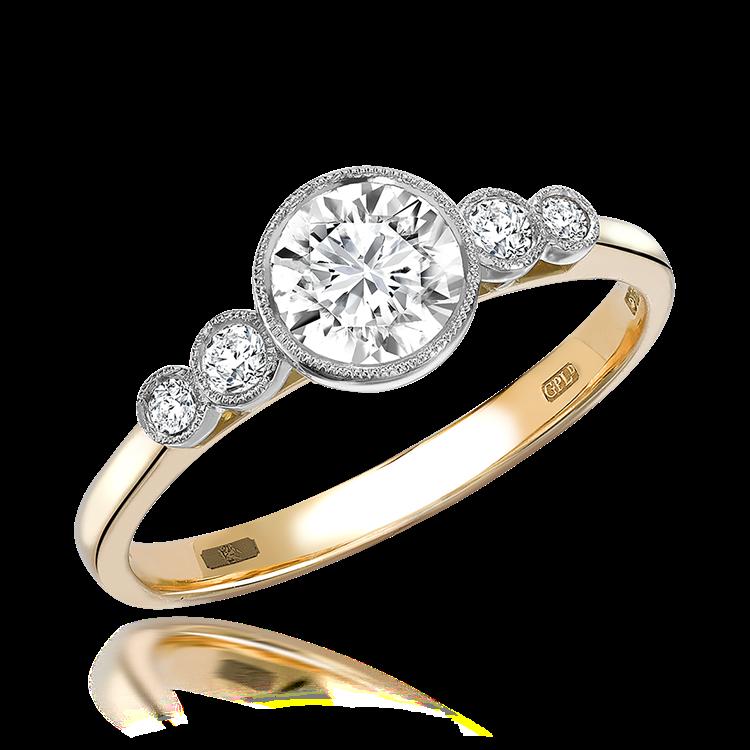 0.60CT Diamond Solitaire Ring Yellow Gold and Platinum Celia Setting Brilliant Cut, Solitaire, Brilliant Shoulders_1