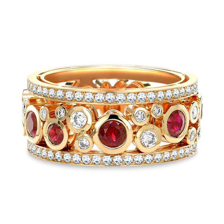 Bubbles Ruby and Diamond Dress Ring 1.50CT in Rose Gold