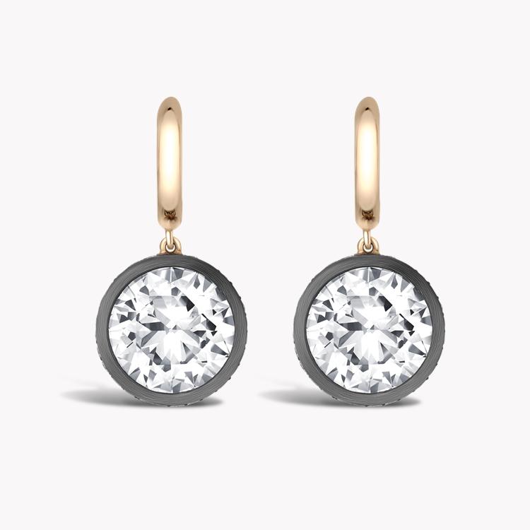 Diamond Drop Hoop Earrings 7.21CT in Rose Gold & Silver Old European cut, Brilliant Cut Diamond Surround_2