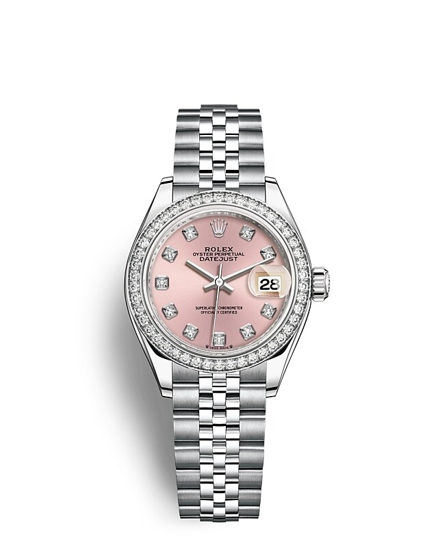 Lady-Datejust Oyster, 28 mm, Oystersteel, white gold and diamonds
