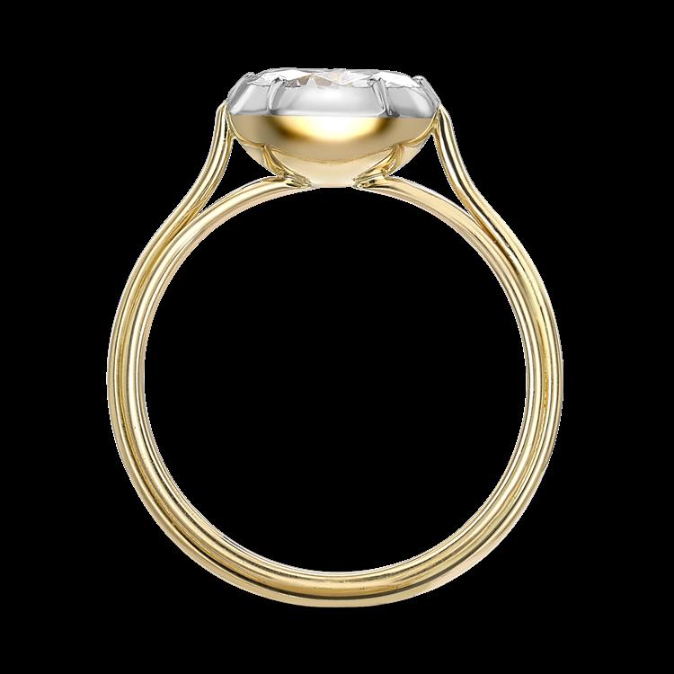 Brilliant Cut Diamond Ring<br /> 1.24CT in Yellow Gold & Platinum