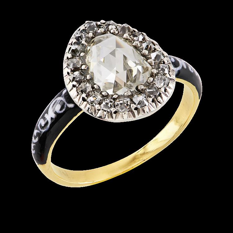 Georgian Rose Cut Diamond Ring 0.86CT in Silver & Yellow Gold