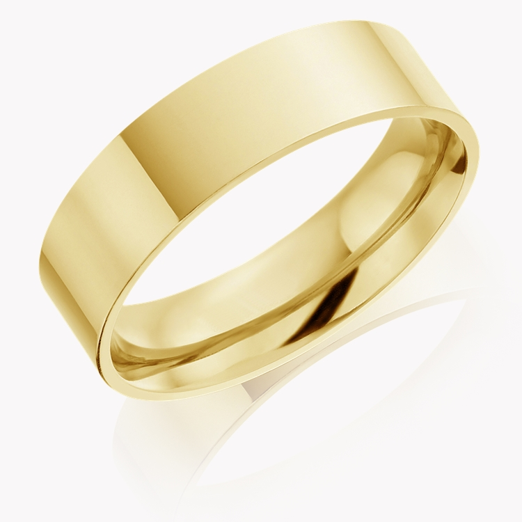 6mm Flat Court Wedding Ring in 18CT Yellow Gold _1