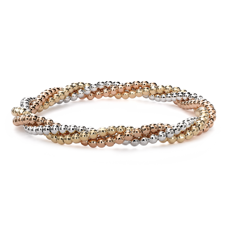 Bohemia Three-Row Bracelet in 18CT Yellow, White and Rose Gold