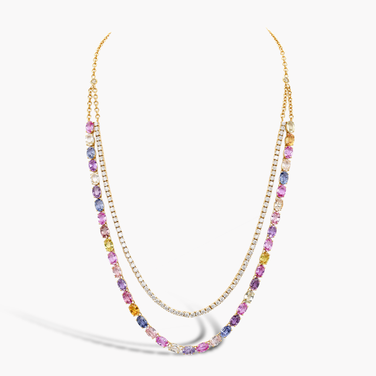 Rainbow Fancy Sapphire and Diamond Two-Row Necklace 27.28CT in Rose Gold Oval Cut, Claw Set_2