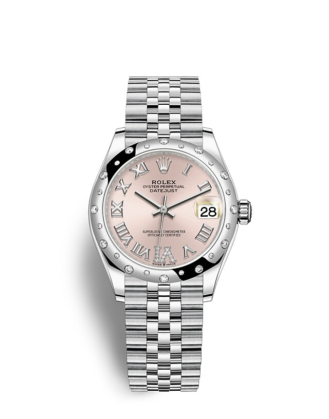 Datejust 31 Oyster, 31 mm, Oystersteel, white gold and diamonds