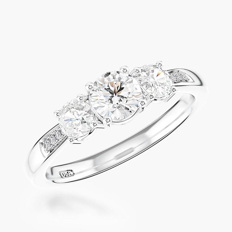 0.86CT Diamond Three-Stone Ring Platinum Duchess Setting