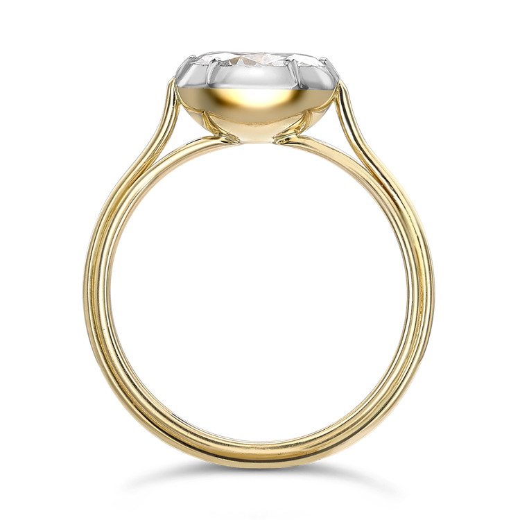 Brilliant Cut Diamond Ring<br /> 1.64CT in Yellow Gold & Platinum