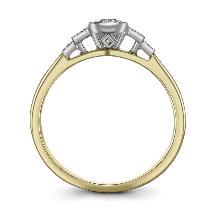 0.61CT Diamond Solitaire Ring Yellow Gold and Platinum Celia Setting Asscher Cut, Solitaire, Brilliant Shoulders_2