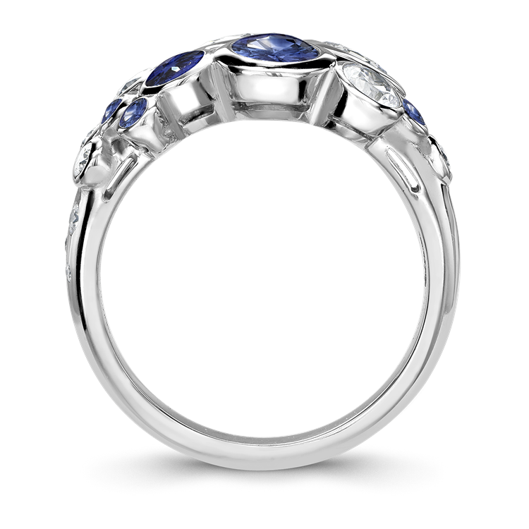 Bubbles Blue Sapphire and Diamond Dress Ring 2.62CT in White Gold Brilliant Cut, Rubover Set_3