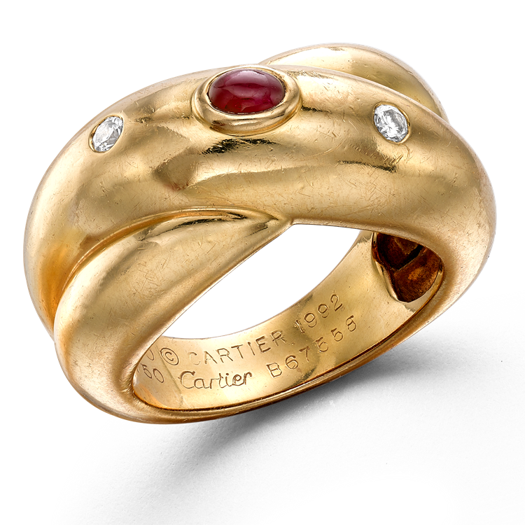 Contemporary Cartier Ruby & Diamond Ring in Yellow Gold