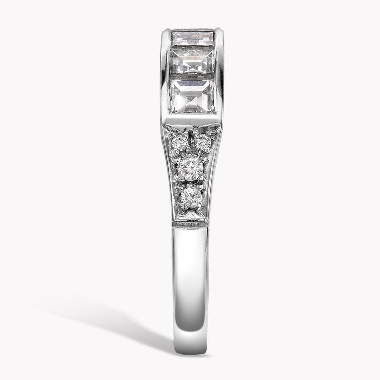 Antrobus Diamond 7 Stone Ring 1.18CT in Platinum Carré Cut, Rub Over Set, Diamond Shoulders_4