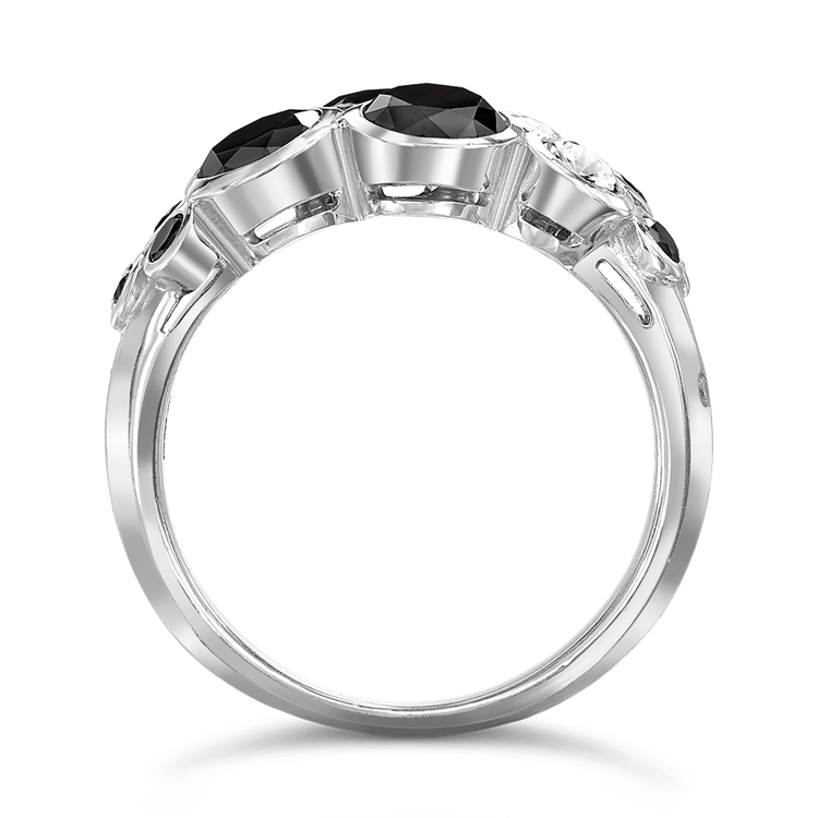Bubbles Black and White Diamond Dress Ring<br /> 2.67CT in White Gold