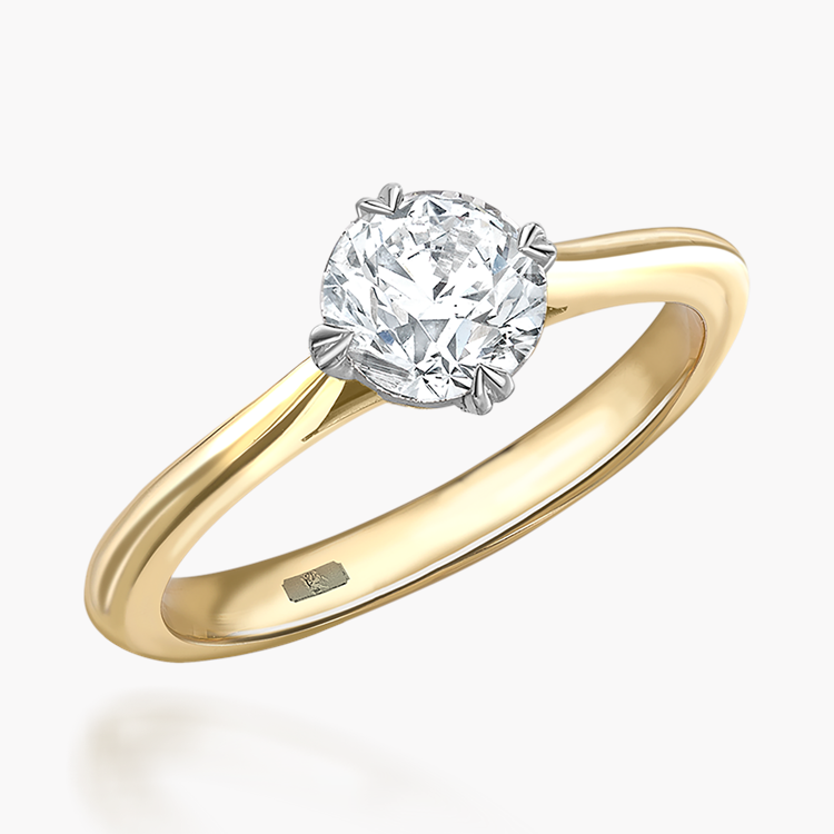 0.71CT Diamond Solitaire Ring Yellow Gold and Platinum Windsor Setting