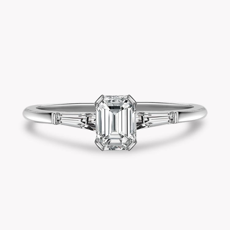 1.20CT Diamond Solitaire Ring Platinum Regency Setting Emerald Cut, Solitaire, Tapered Baguettes_2