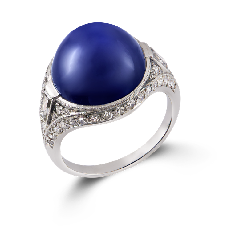 Art Deco Cabachon Sapphire Ring  15.19CT in Platinum Cabochon Cocktail Ring, with Diamond Surround_1