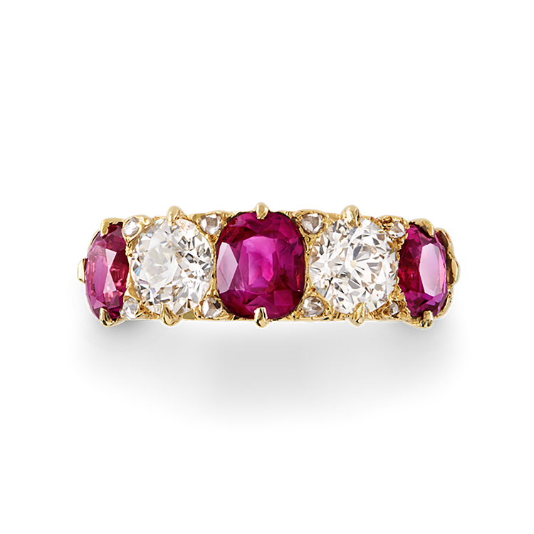 Victorian Burmese Ruby and Diamond Ring  3.70CT in Yellow Gold Cushion Cut Five Stone Ring_2