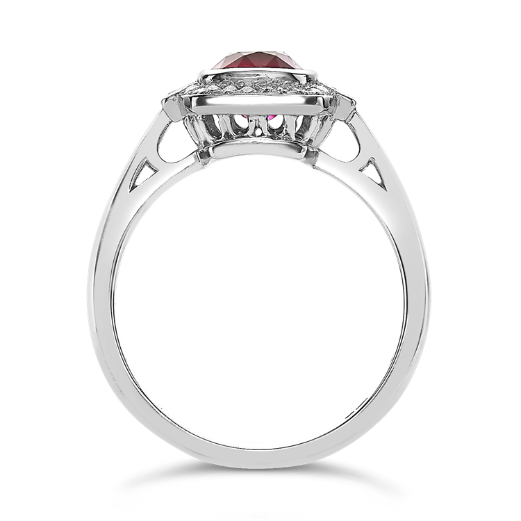 East African Oval Cut Ruby Ring<br /> 2.05CT in Platinum