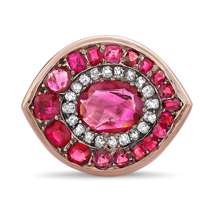 Art Deco Ruby Cluster Ring<br /> 1.20CT in Rose Gold