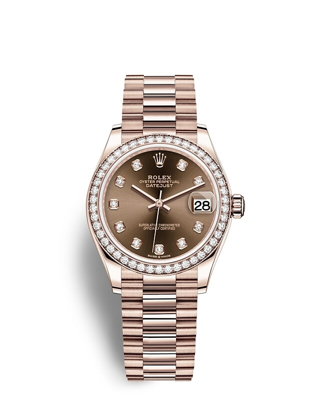 Datejust 31 Oyster, 31 mm, Everose gold and diamonds