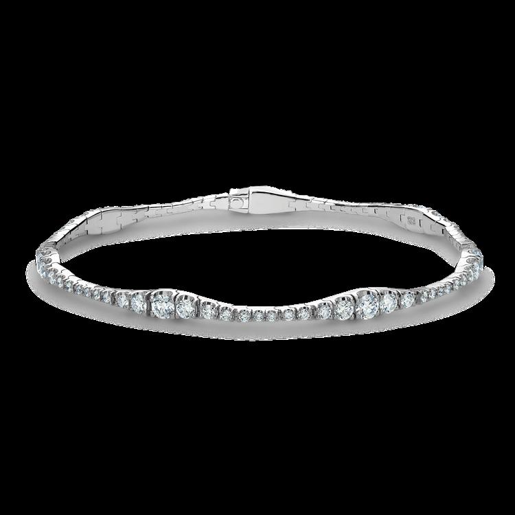 Diamond Graduated Line Bracelet 2.82CT in 18CT White Gold Brilliant Cut, Grain Set_1