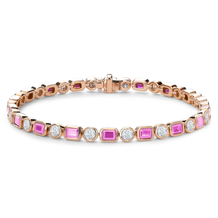 Emerald Cut Pink Sapphire and Diamond Bracelet 7.38CT in 18CT Rose Gold