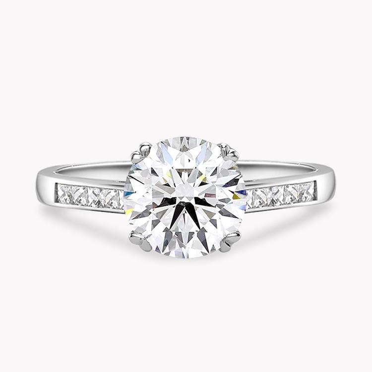 0.73CT Diamond Solitaire Ring Platinum Gatsby Setting Brilliant Cut, Solitaire, French Cut Diamond Shoulders_2