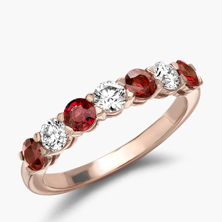 Ruby and Diamond Seven-Stone Ring 1.24CT in 18CT Rose Gold Brilliant Cut, Seven-Stone, Claw Set_1