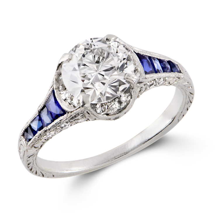 Art Deco Brilliant Cut Diamond and Sapphire Ring  1.25CT in Platinum Brilliant Cut Solitaire Ring, with Sapphire Shoulders_1