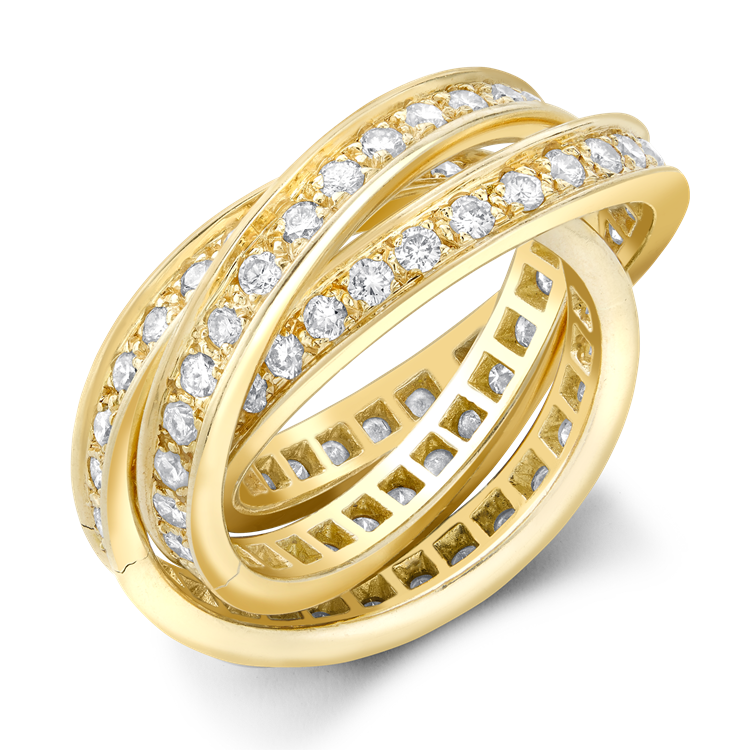 Contemporary Cartier Trinity Ring 1.80CT in Yellow Gold Brilliant Cut Diamond Band Ring_1